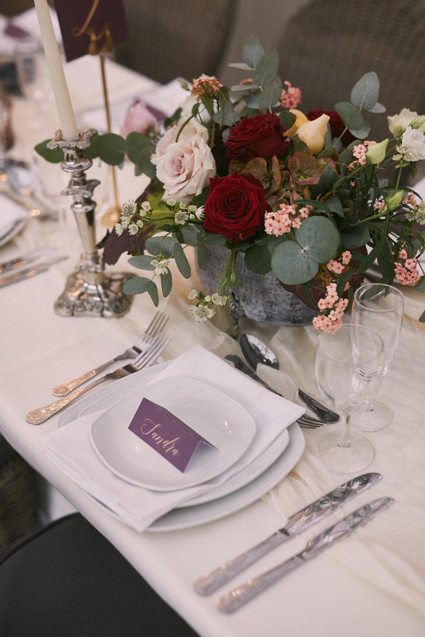 Pink & Burgundy Table Centrepiece