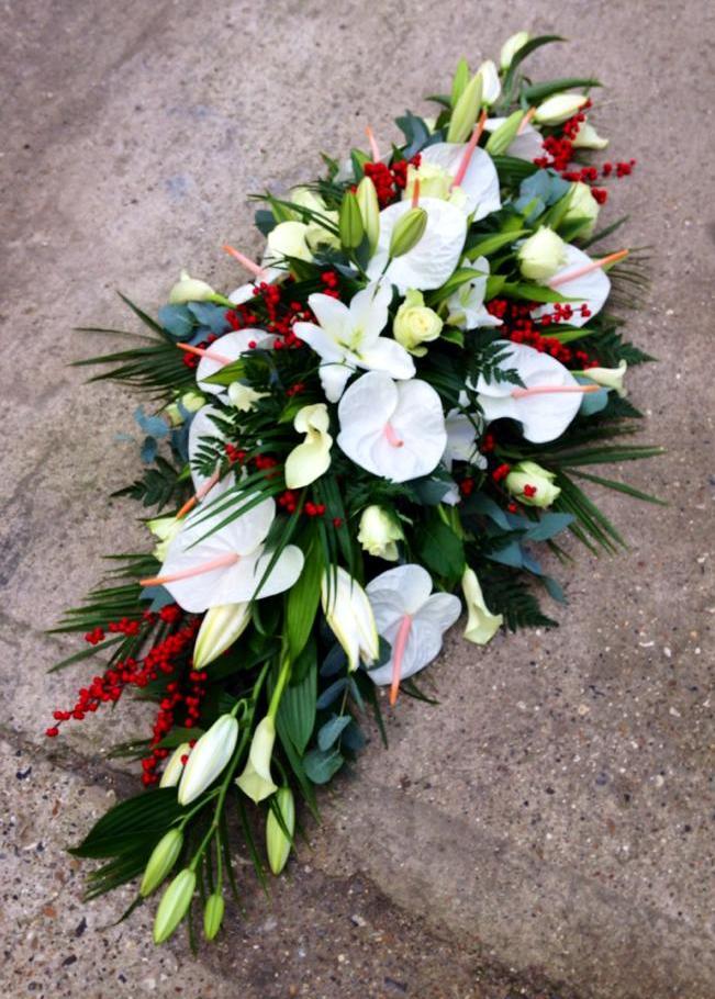 White Anthurium & Red Berry Coffin Spray