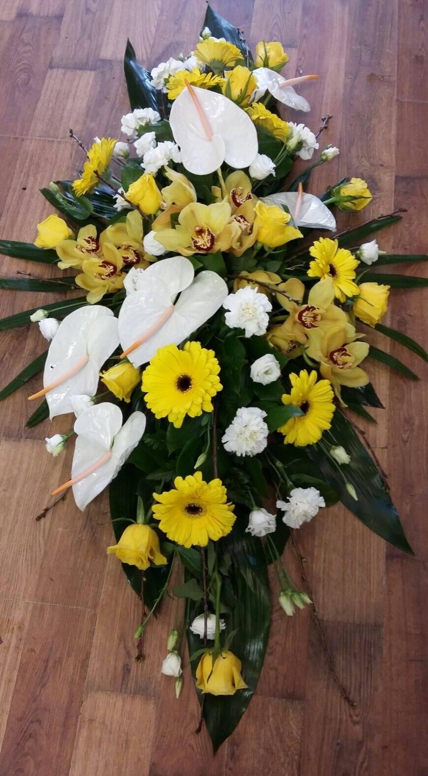 Yellow & White Anthurium Coffin Spray