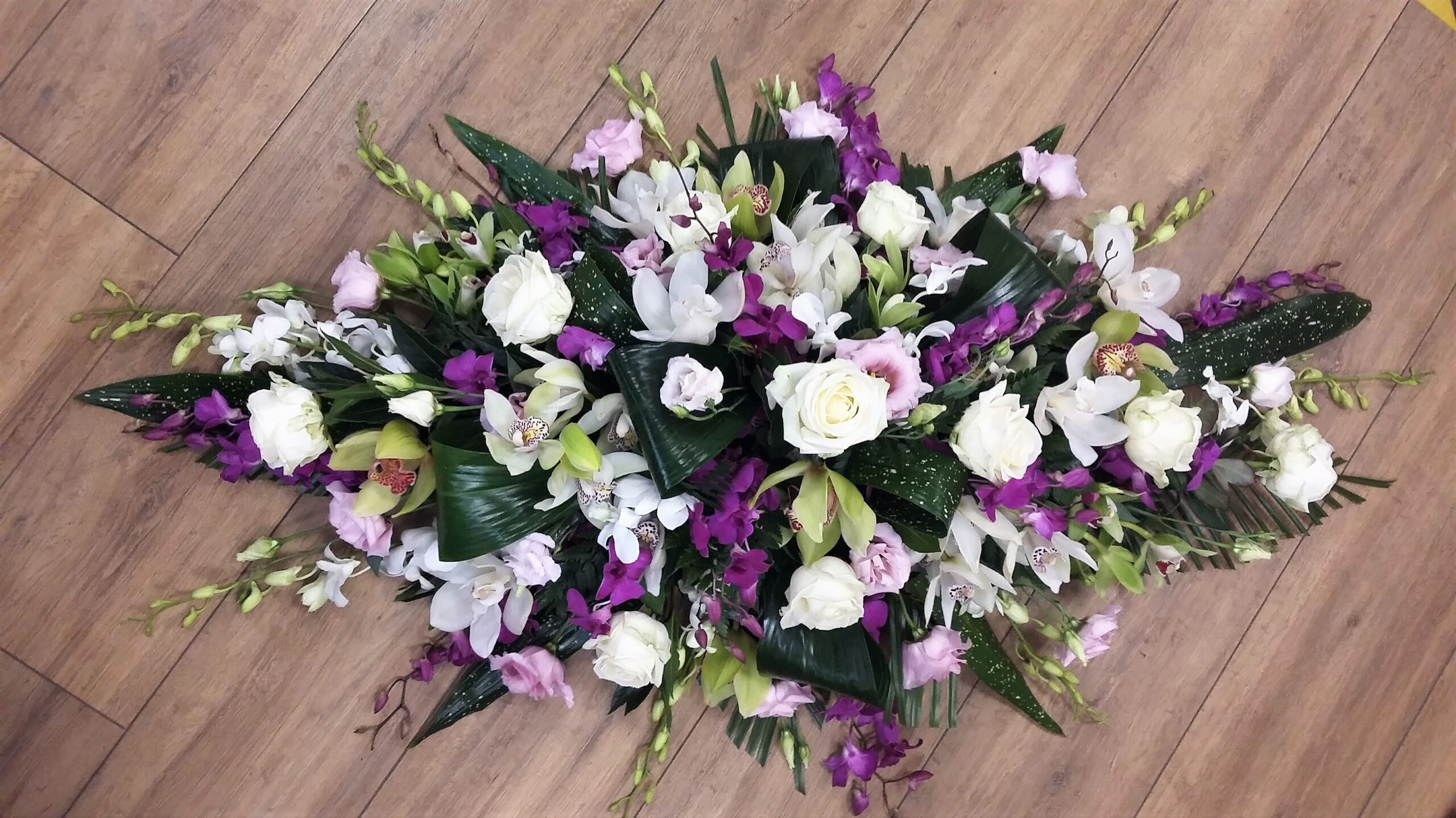 White & Purple Coffin Spray