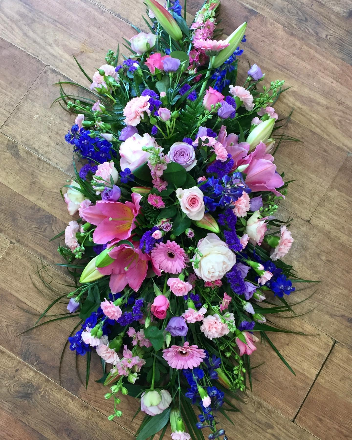 Blue & Pink Coffin Spray from £125.00