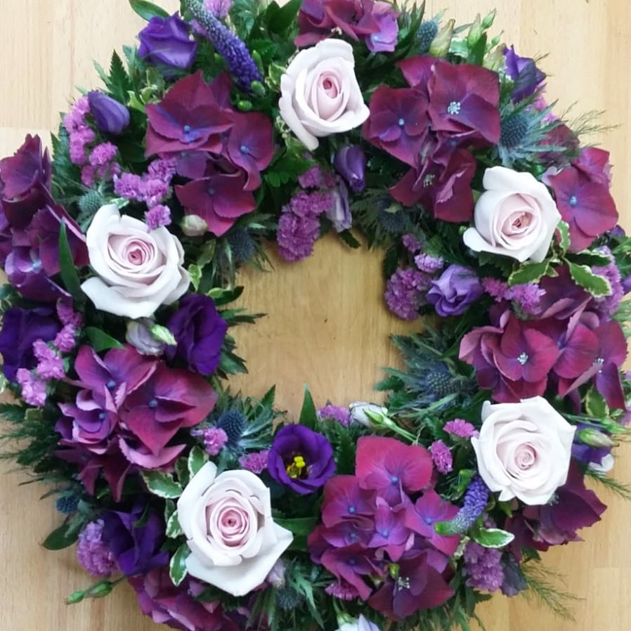 Loose Purple Hydrangea Wreath