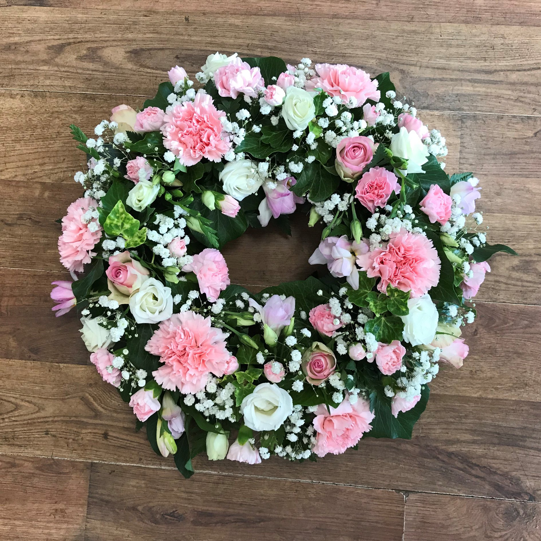 Loose Pale Pink Wreath from £40.00