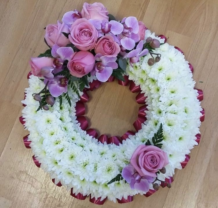 Based Wreath with Orchids