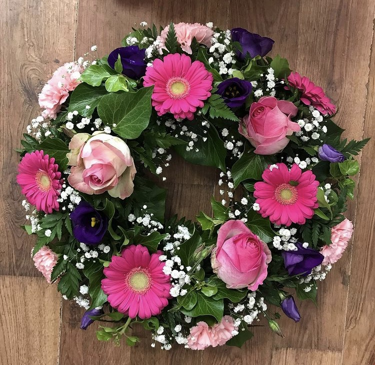 Loose Pink & Purple Wreath with Gypsohila from £40.00