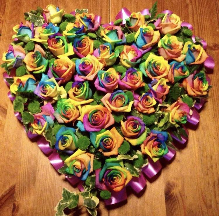 Rainbow Rose Heart