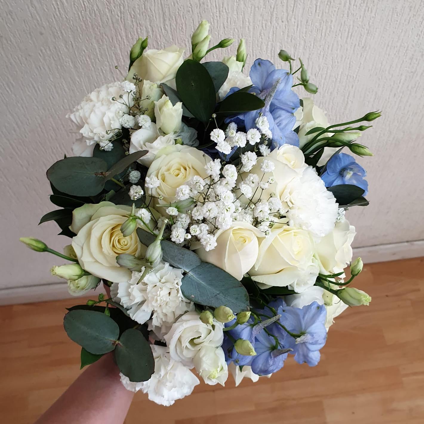 Cream Rose & Pale Blue Delphinium Bride's Bouquet